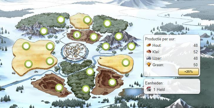 travian legends dorp met grondstofproducties